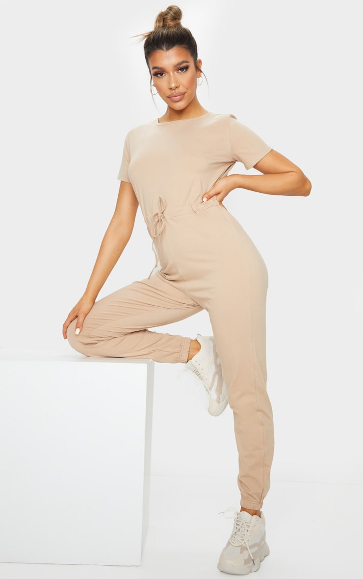 Stone Cotton Elastane Short Sleeve Jumpsuit 1