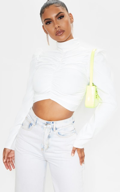 White Ruched High Neck Top