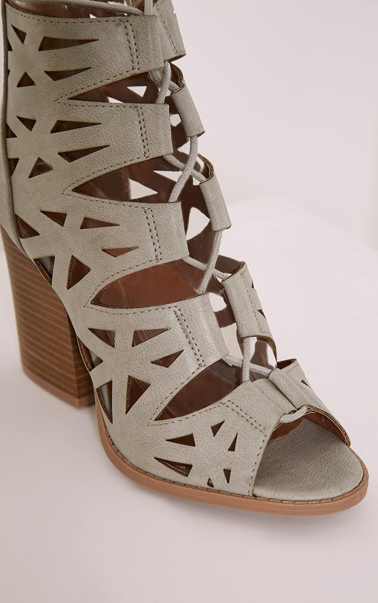 Keeley Grey Cut Out Lace Up Heeled Sandals 5