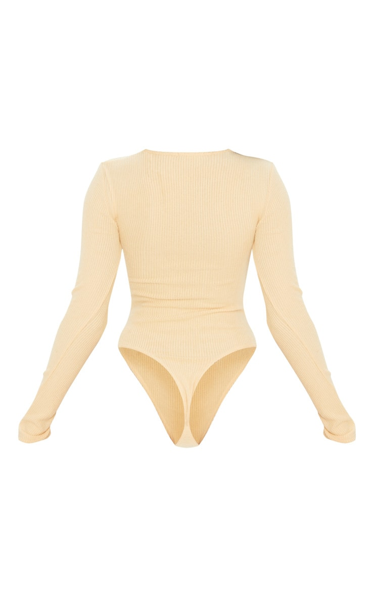 Sand Brushed Rib Crew Neck Long Sleeve Bodysuit 4