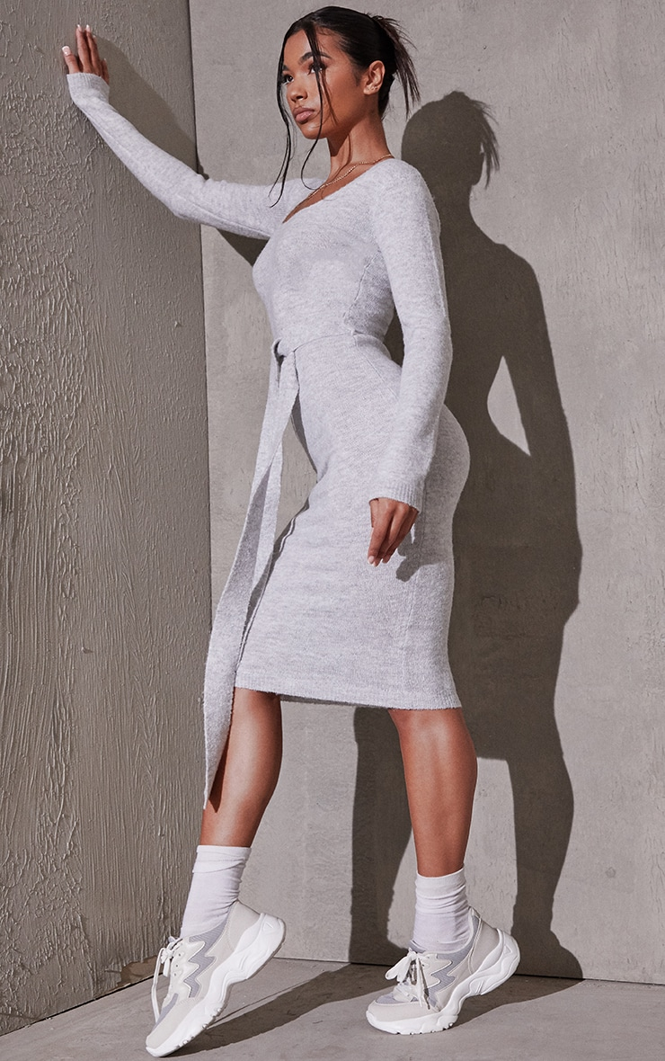 Light Grey Recycled Belted Square Neck Knitted Midi Dress 3