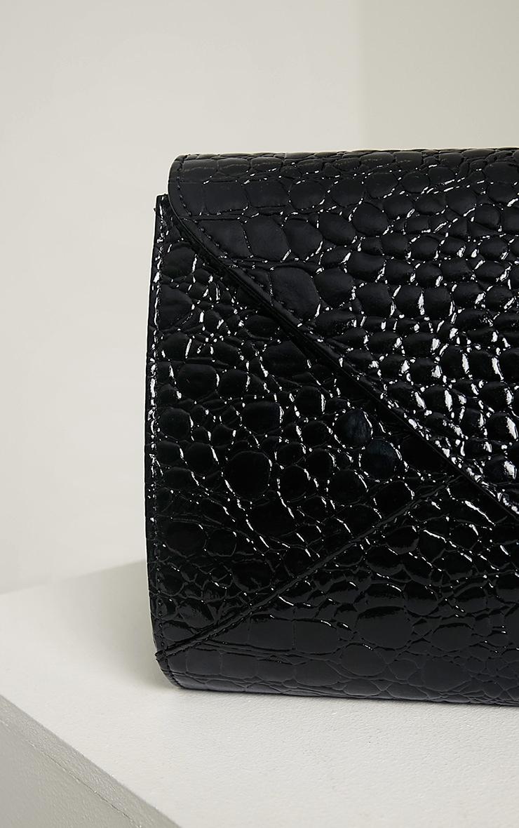 Janie Black Patent Croc Clutch Bag 5