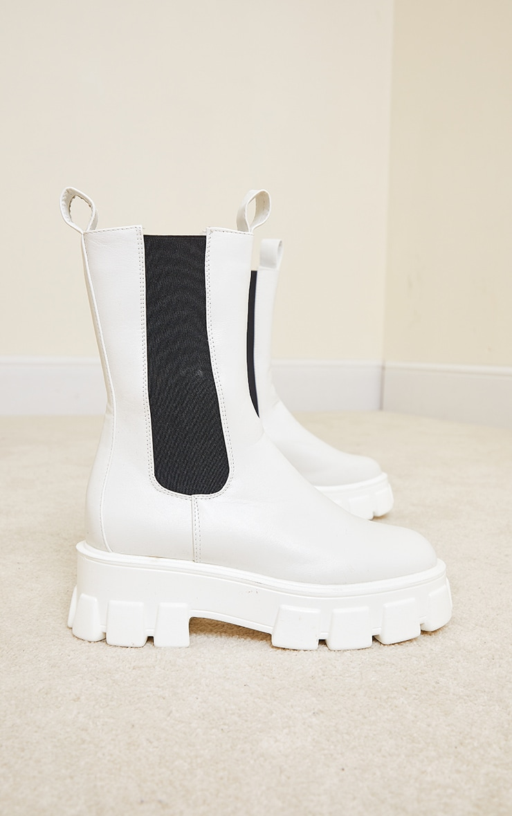 White Extreme Chunky Sole Calf High Chelsea Boots 3