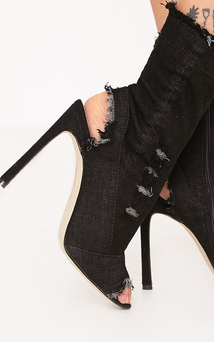 Meganna Black Ripped Denim Cut Out Ankle Boots 5