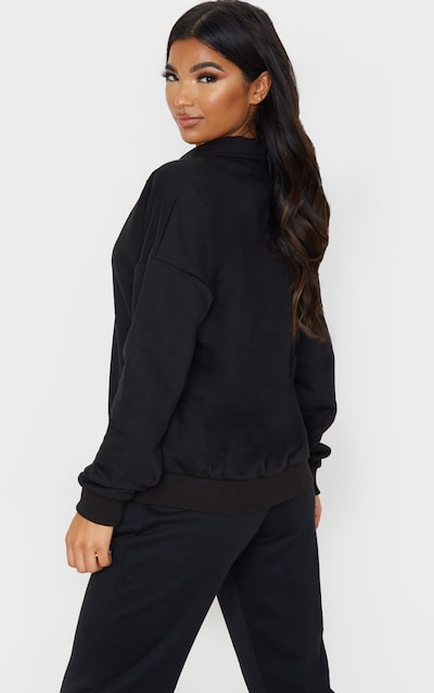 Black Plunge Collar Oversized Sweater
