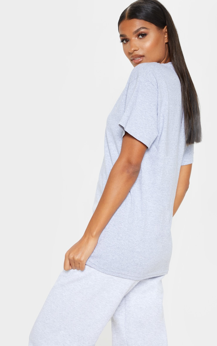 PRETTYLITTLETHING Slogan Grey Oversized T Shirt 2