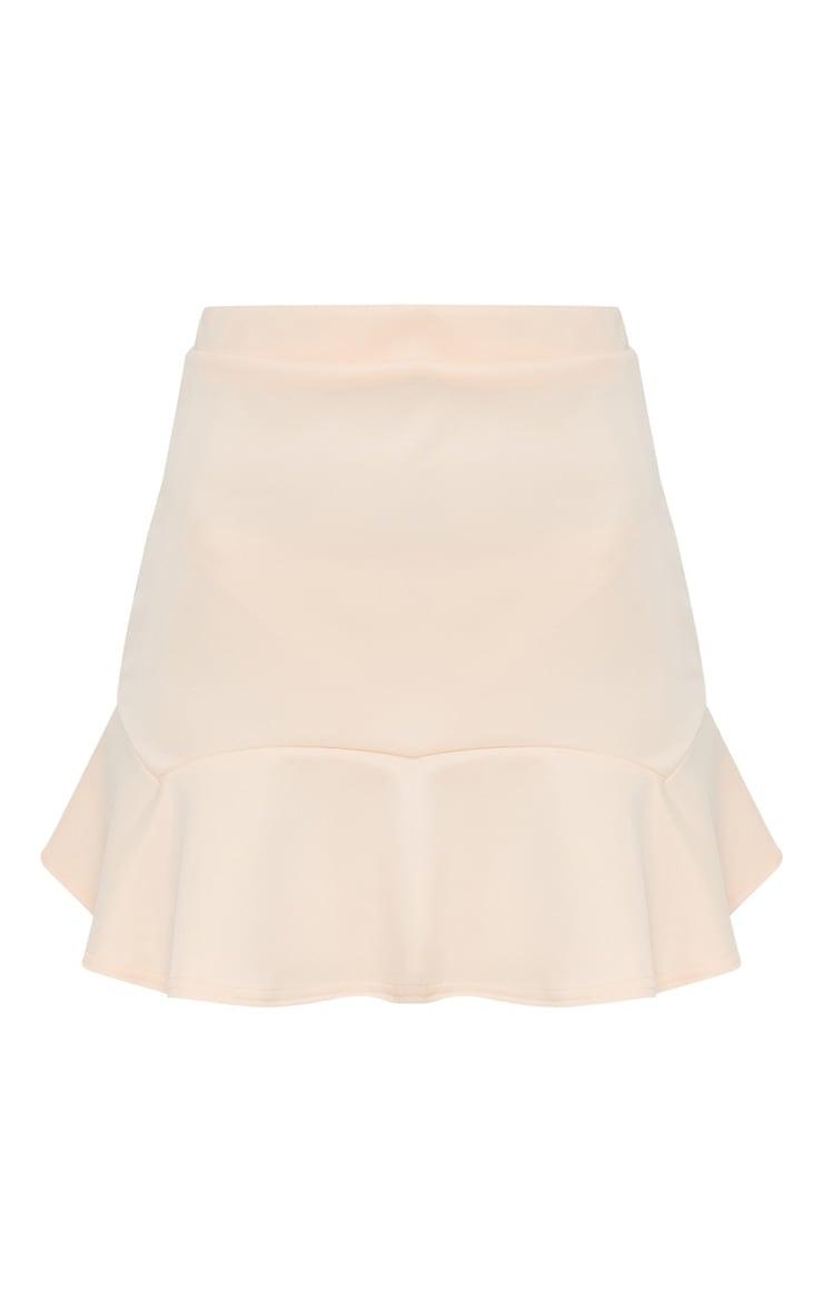 Mini-jupe nude à ourlet volanté  3