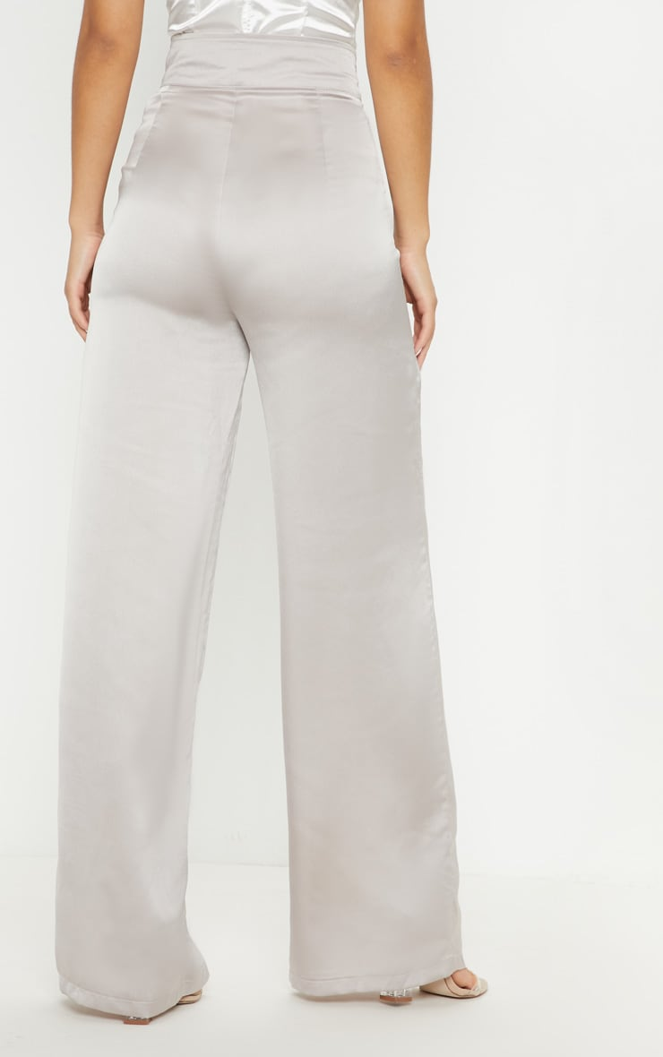 Silver Grey Satin D Ring Belt Wide Leg Trouser 4