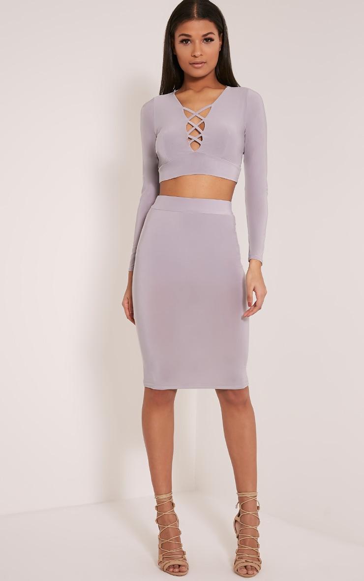 Malin Grey Slinky Midi Skirt 1