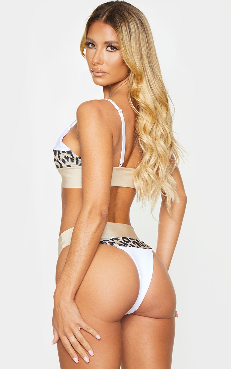 Nude & Leopard Three Toned Bikini Top 2