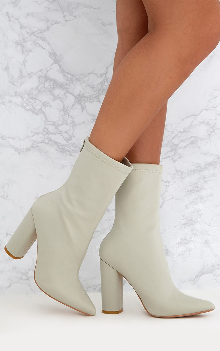 Addie Light Grey Neoprene Pointed Sock Boots 1