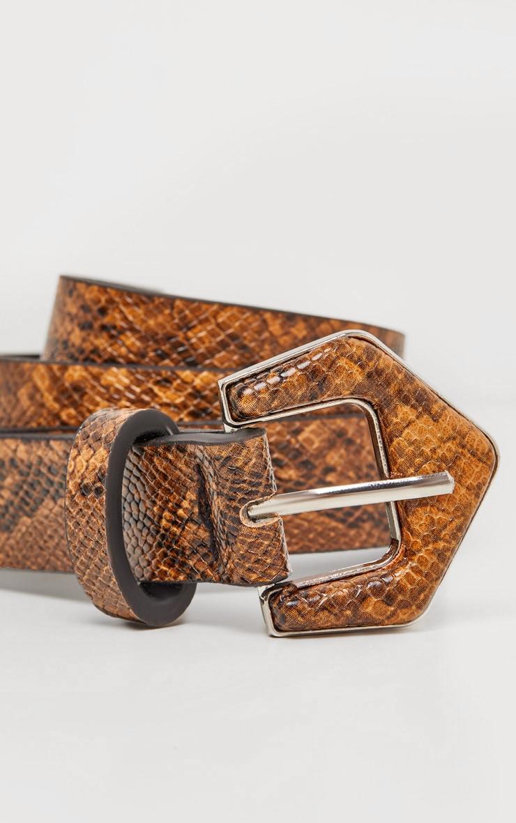 Tan Snake Angled Buckle Jeans Belt 3