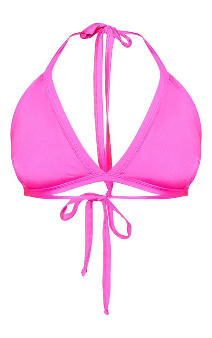 Plus Neon Pink Seam Detail Triangle Bikini Top 3