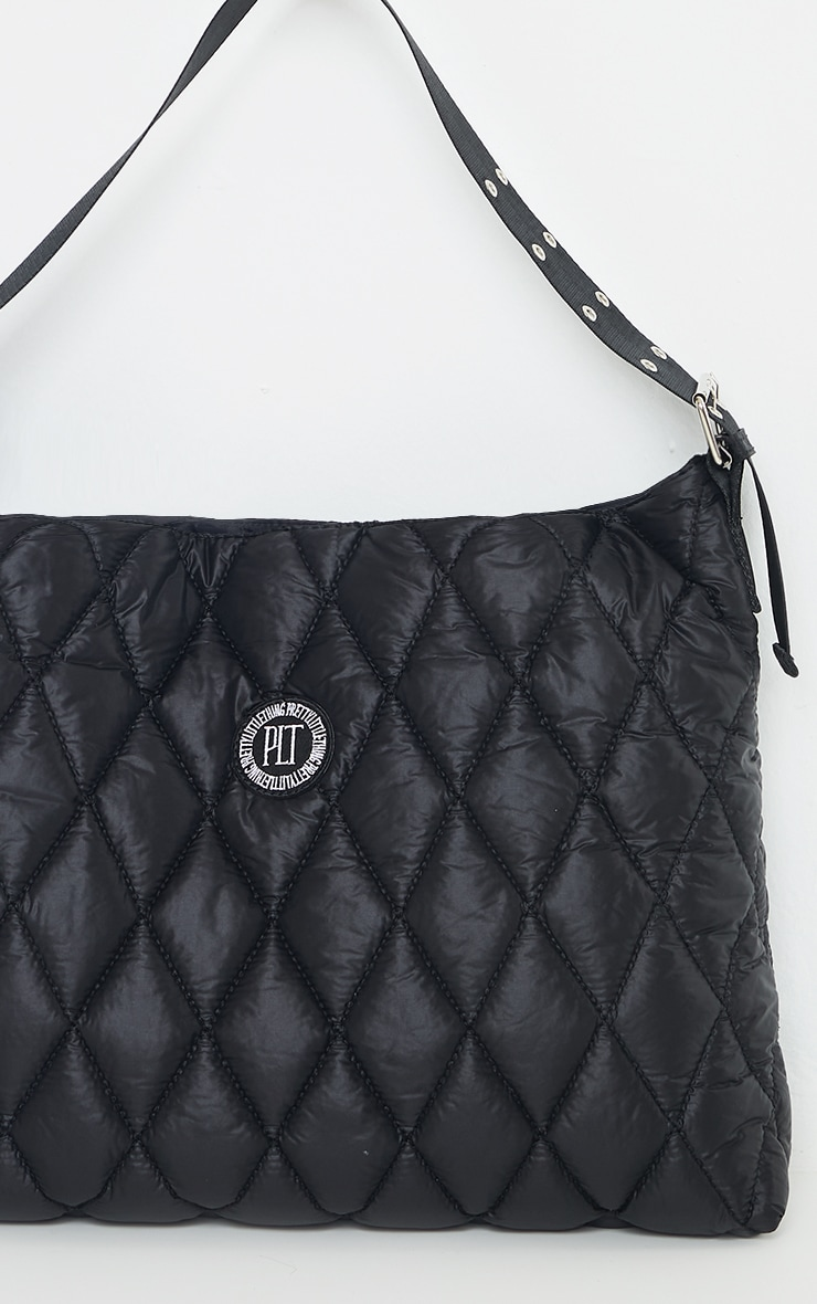 PRETTYLITTLETHING Black Quilted Badge Tote Bag 2