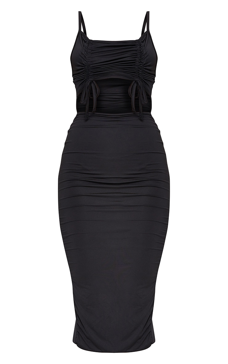 Black Slinky Double Ruched Bust Cut Out Midi Dress 5