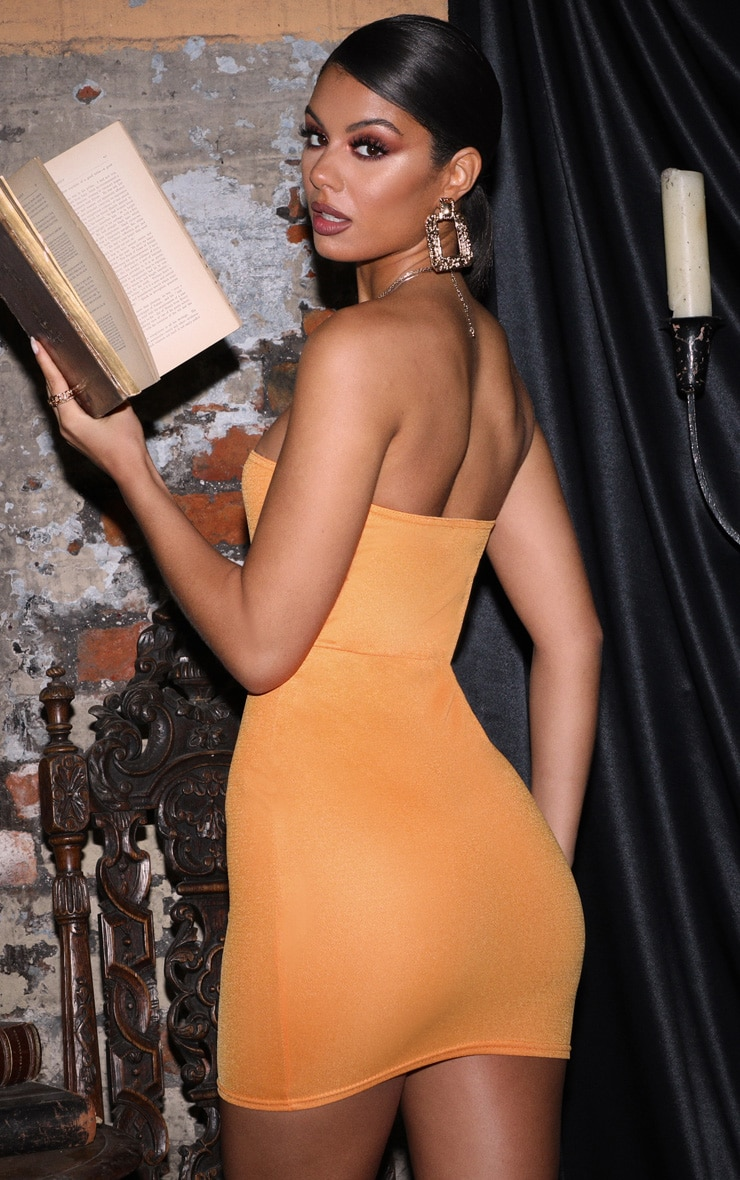 Orange Bandeau Pointy Hem Bodycon Dress 2