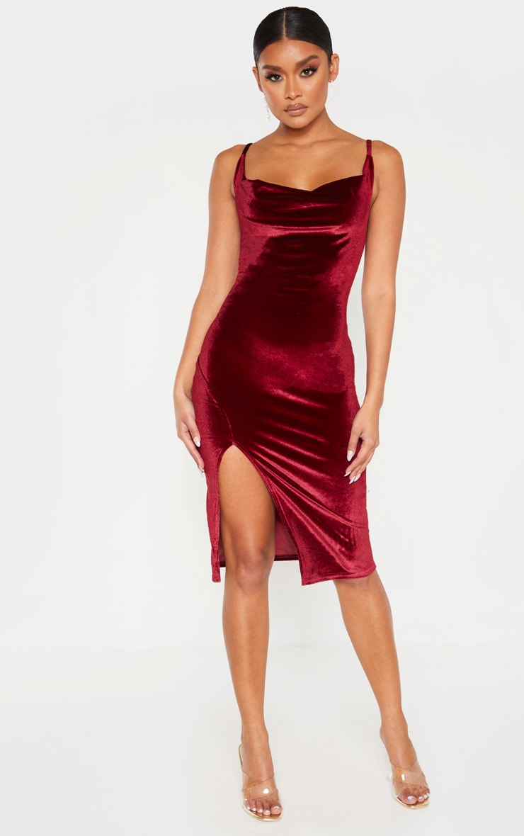 Burgundy Velvet Strappy Cowl Neck Split Detail Midi Dress 1
