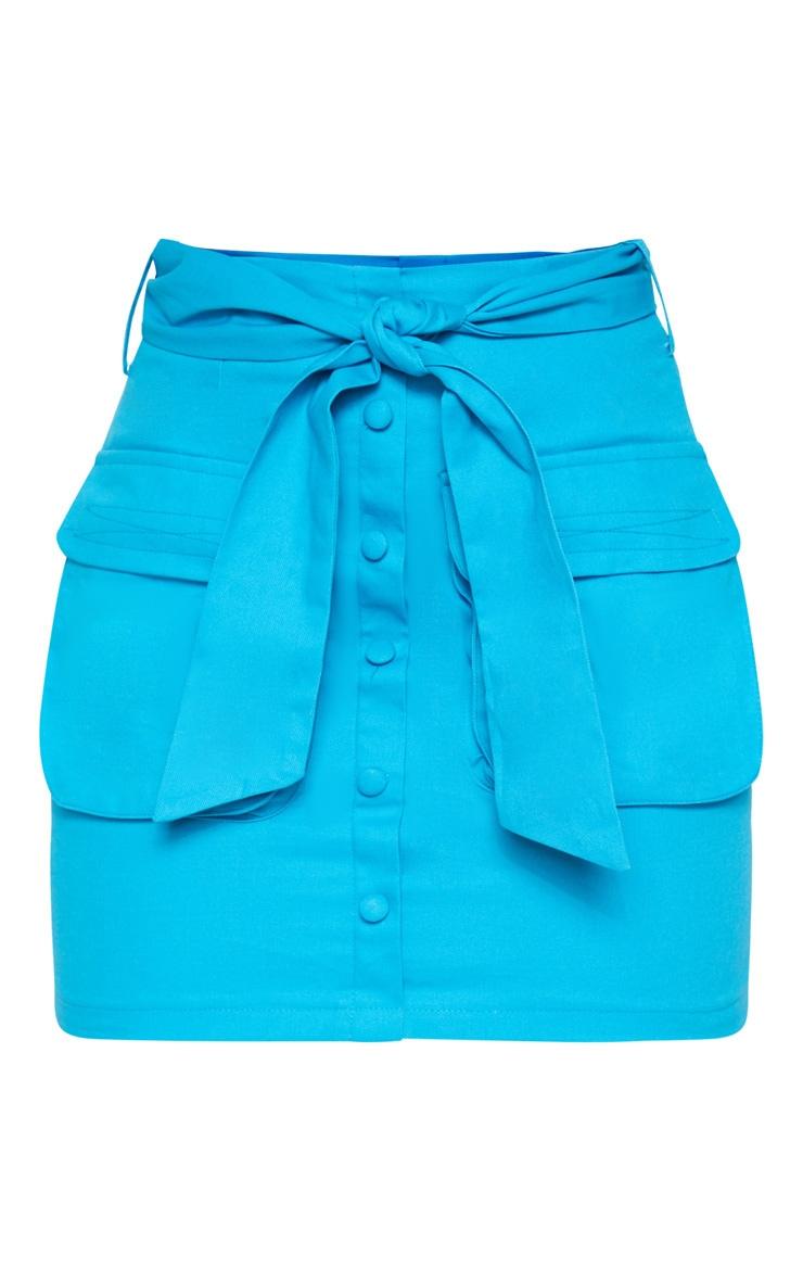 Bright Blue Utility Tie Waist Mini Skirt  3