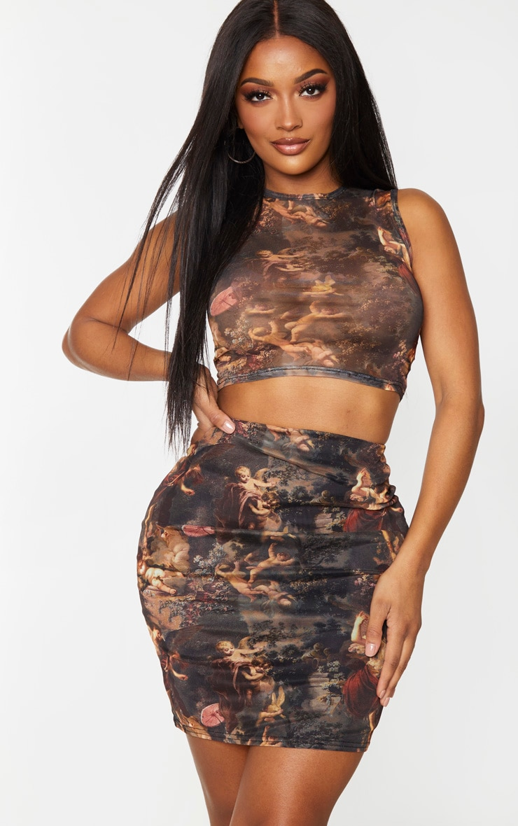 Shape - Crop top en mesh transparent imprimé Renaissance marron 1