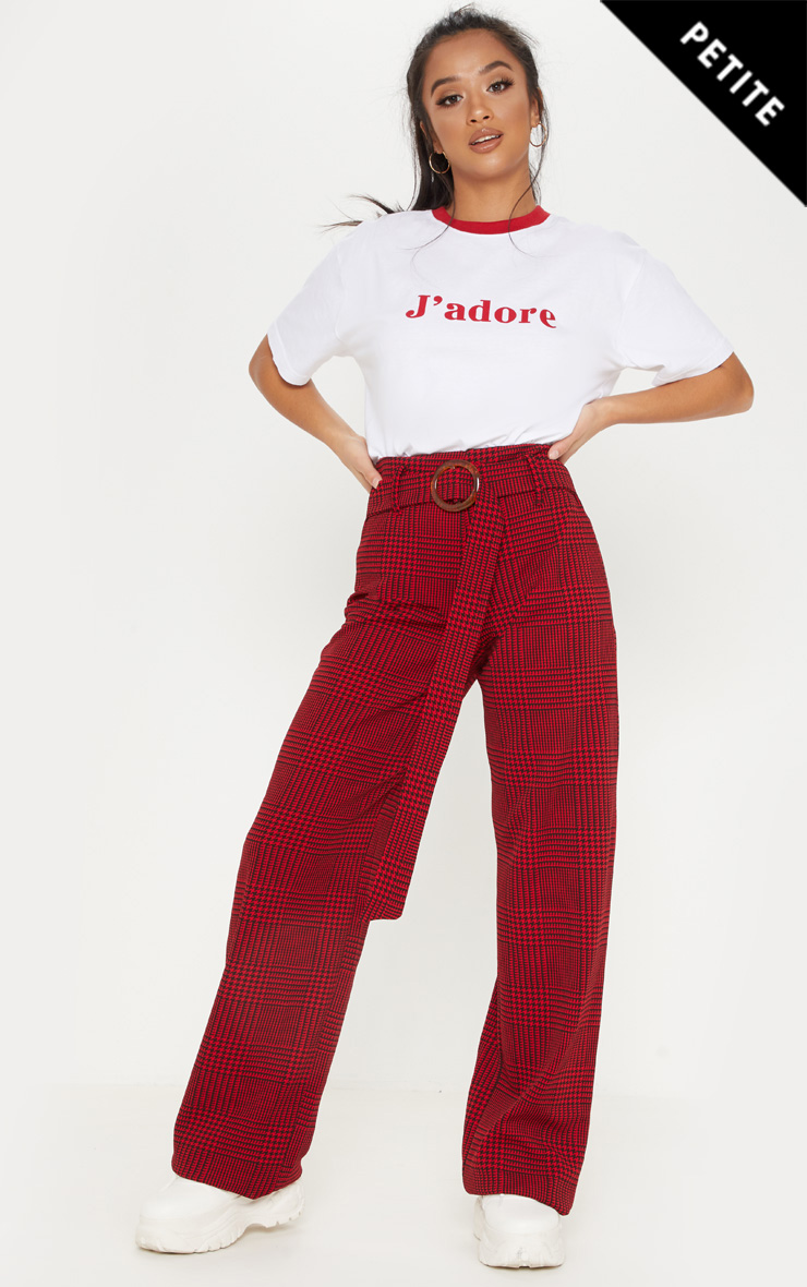 Petite Red Checked Tortoise Belt Wide Leg Trouser