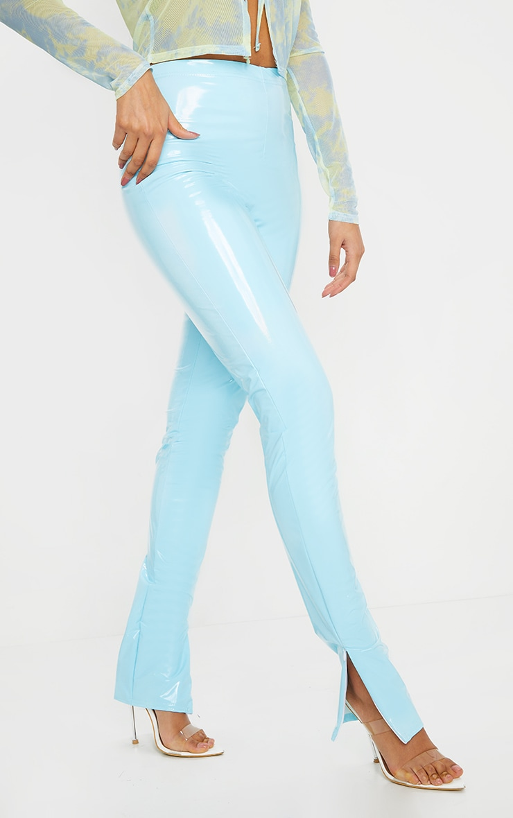 Light Blue Vinyl Split Hem Skinny Pants 2