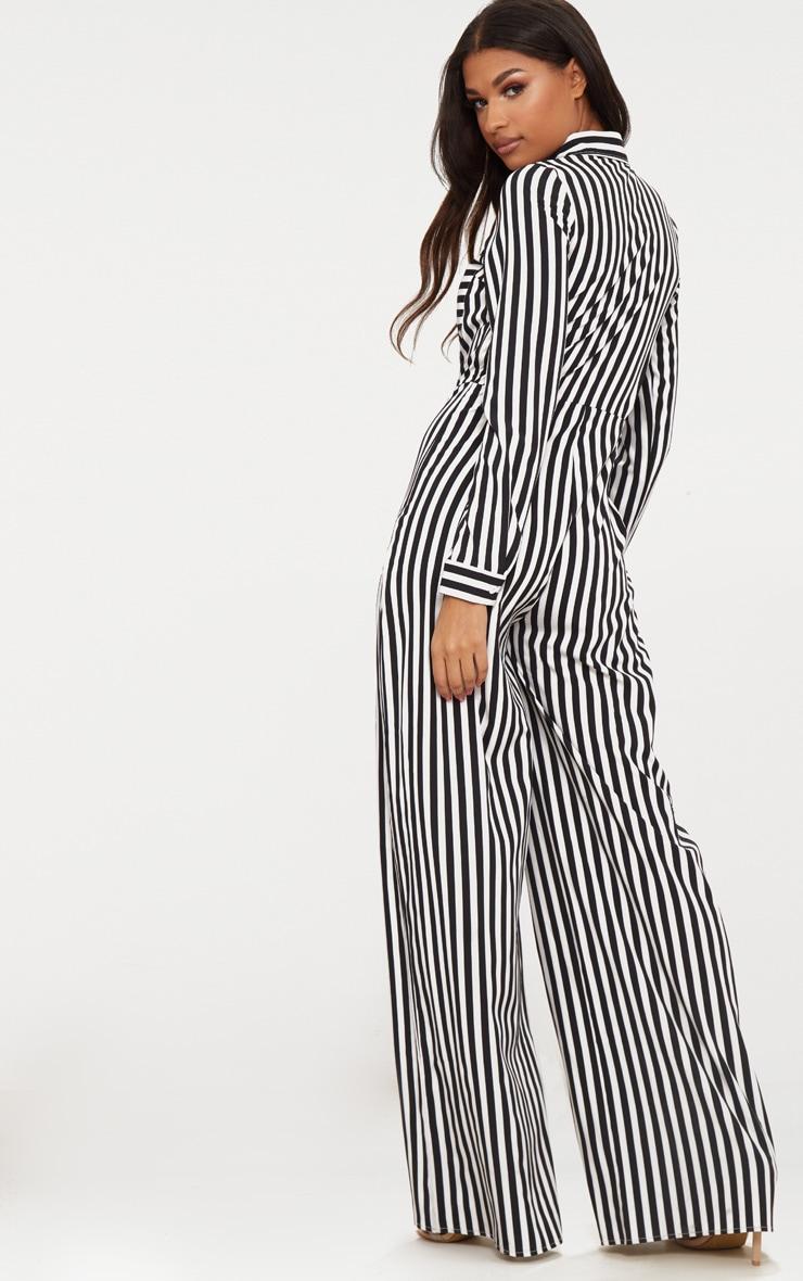 Black Button Striped Long Sleeve Through Jumpsuit 2