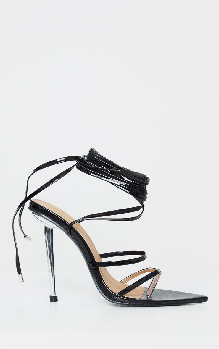 Black Toe Loop Metal Heel Sandals 3