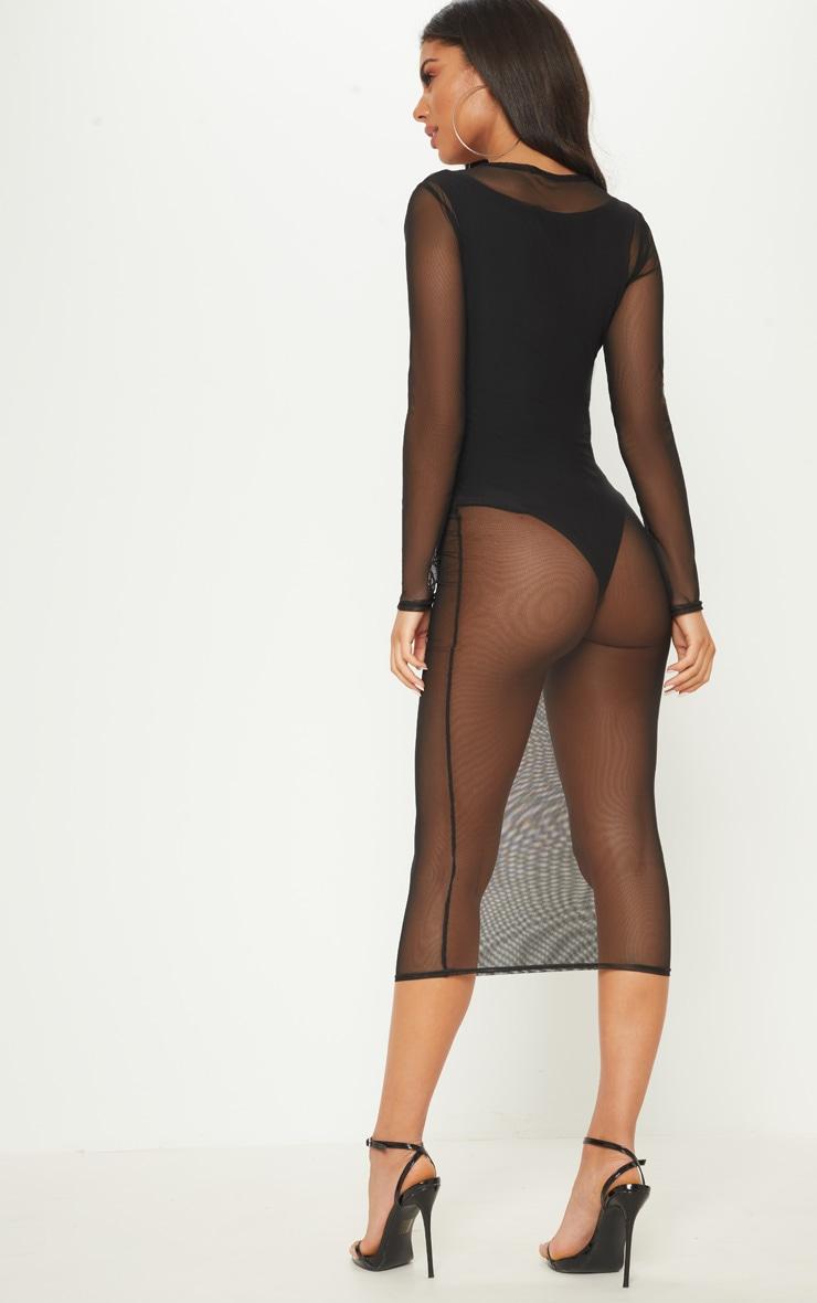 Black 2 in 1 Mesh Midi Dress 2