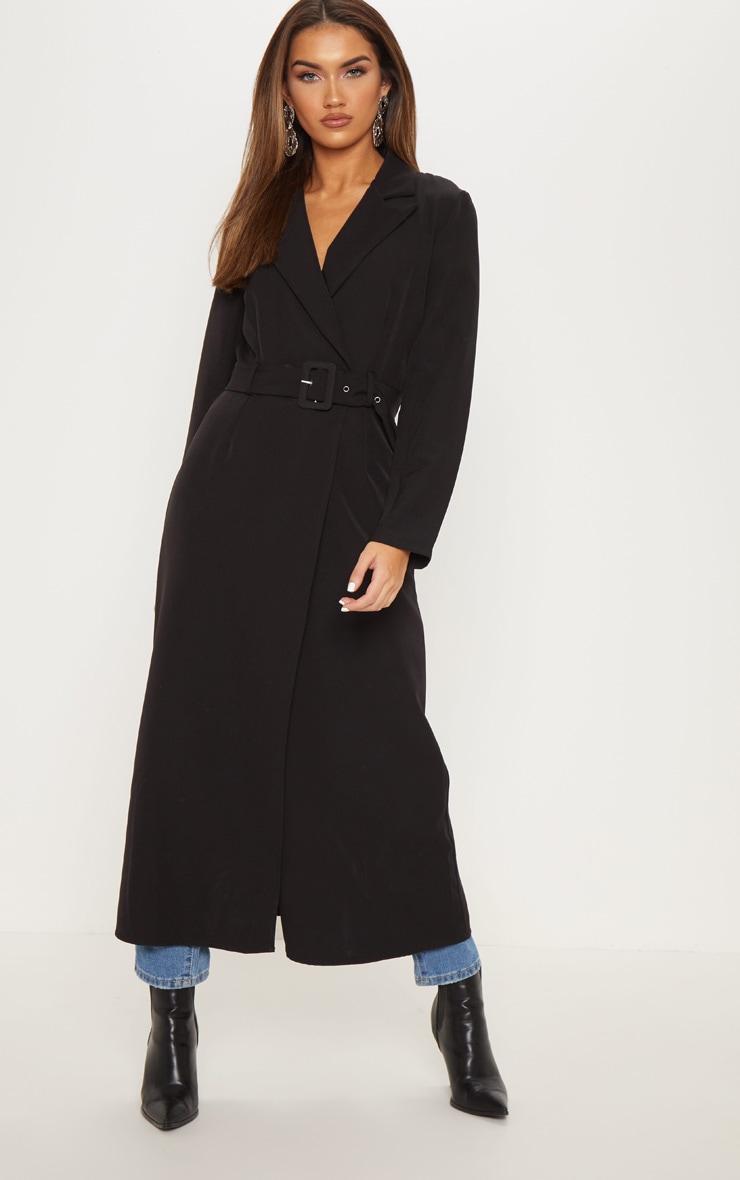Black Woven Collar Detail Buckle Front Coat