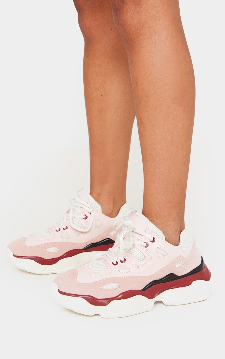Pink And Burgundy Contrast Bubble Sole Sneaker 1