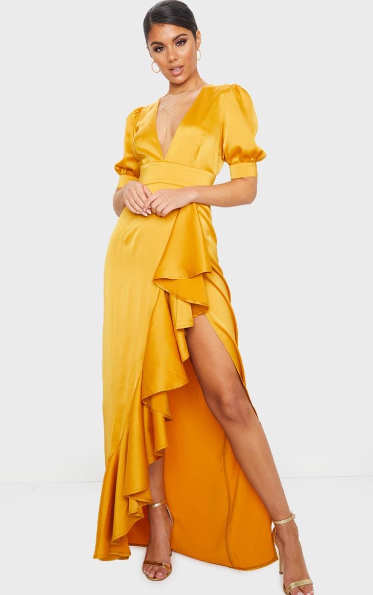 Mustard Satin Short Sleeve Frill Detail Maxi Dress 1