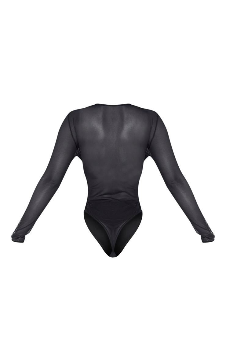Shape Black Mesh Long Sleeve Bodysuit 6