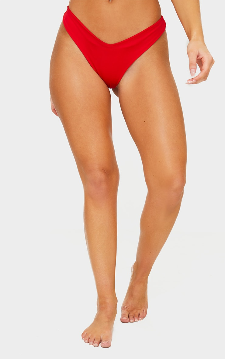 Red Mix & Match Brazilian Thong Bikini Bottom 2