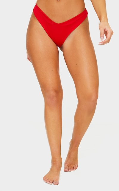 Red Mix & Match Brazilian Thong Bikini Bottom