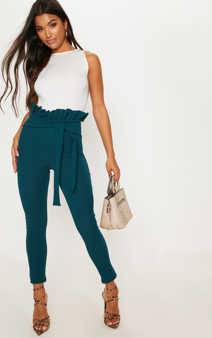 Emerald Green Paperbag Skinny Trouser