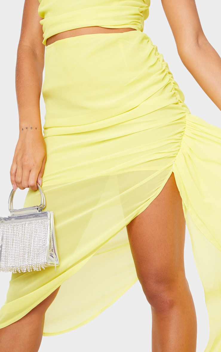 Yellow Woven Ruched Side Panel Midi Skirt 4