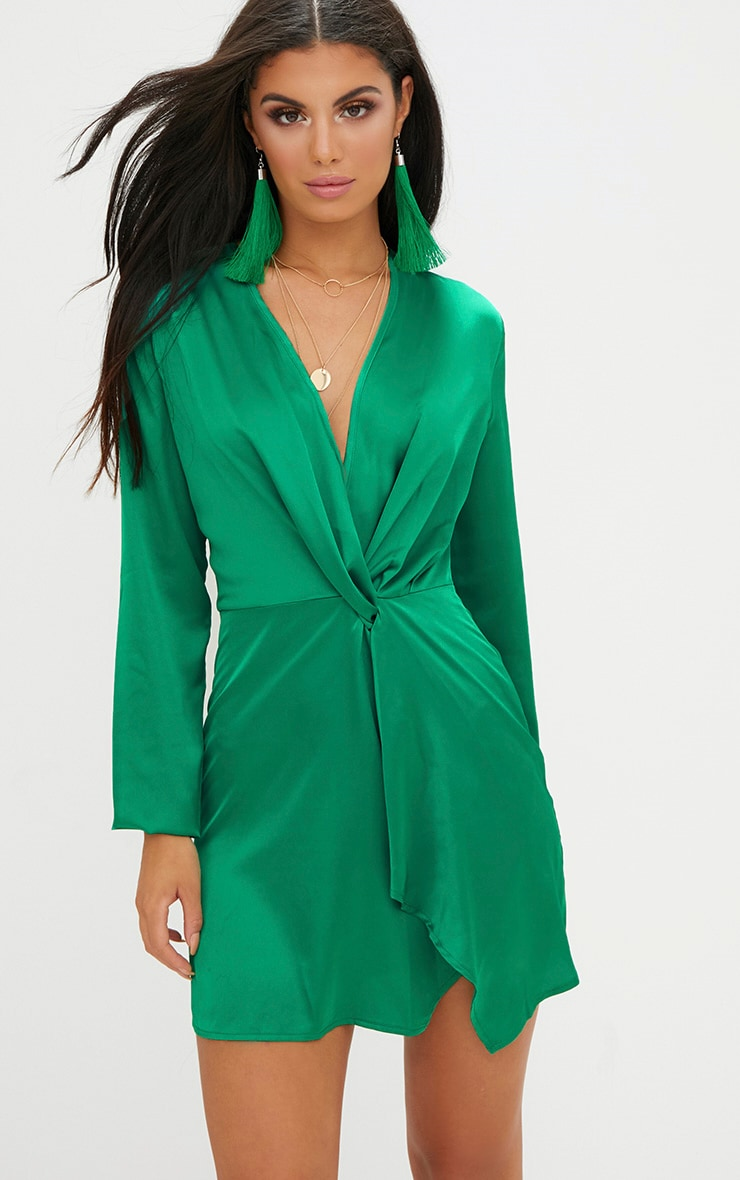 Green Satin Long Sleeve Wrap Dress Dresses