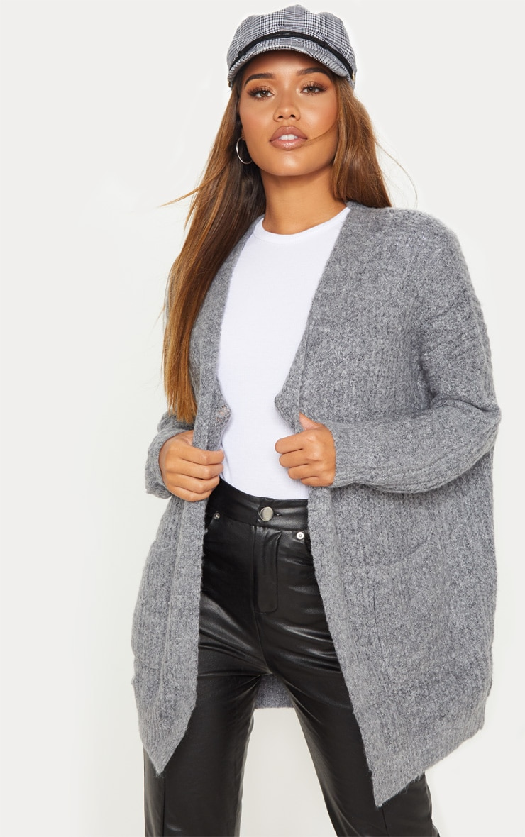 Grey Oversized Knitted Cardigan  1