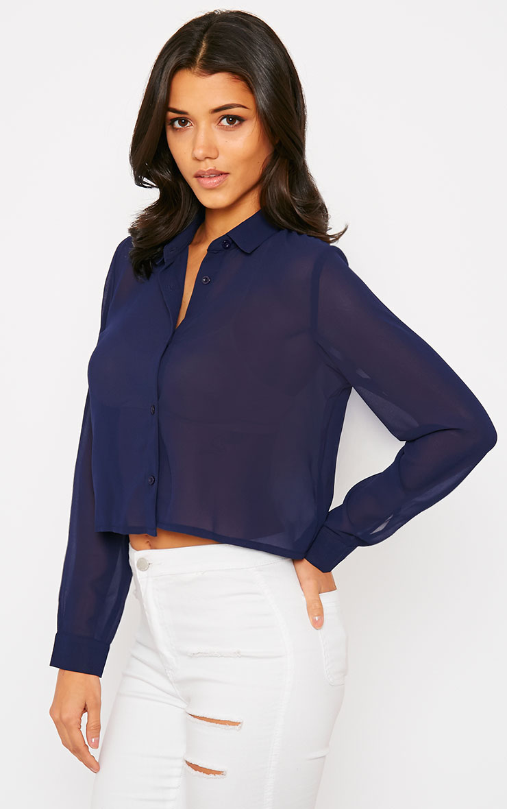 Libby Navy Cropped Shirt 4