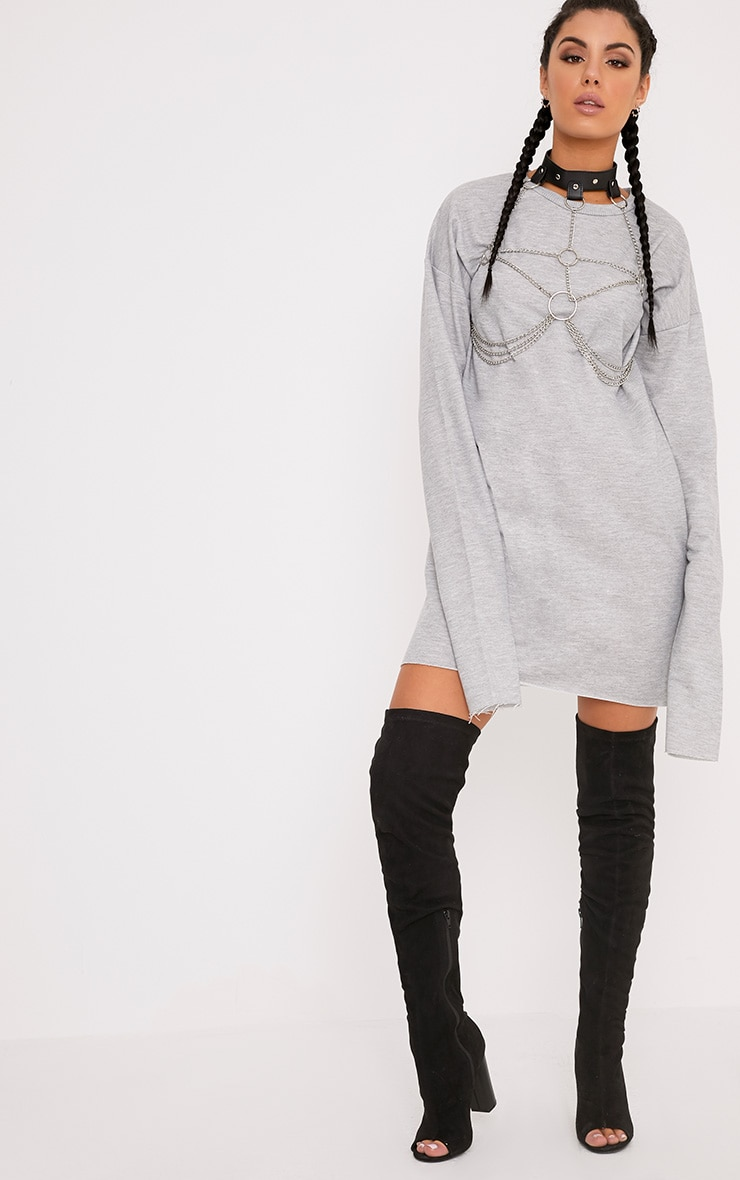 Breanna Grey Extreme Long Sleeved Sweater Dress 4