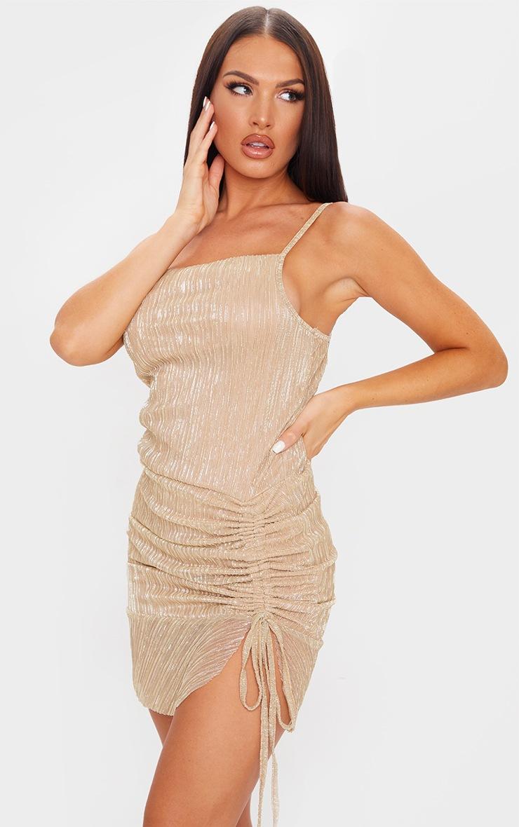Gold Plisse Cowl Neck Ruched Frill Hem Bodycon Dress