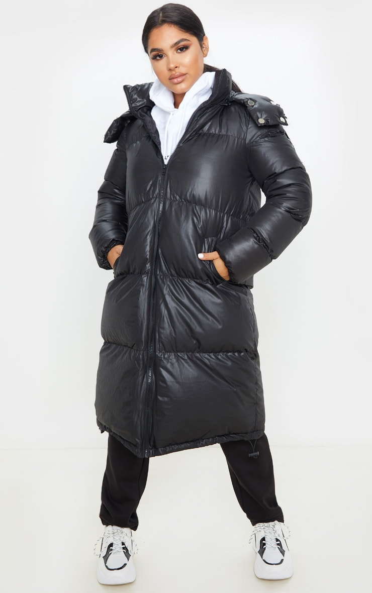 Petite Black Maxi Puffer Coat 1