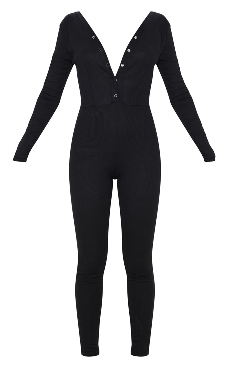 Black Fine Rib Button Up Long Sleeve Jumpsuit 3