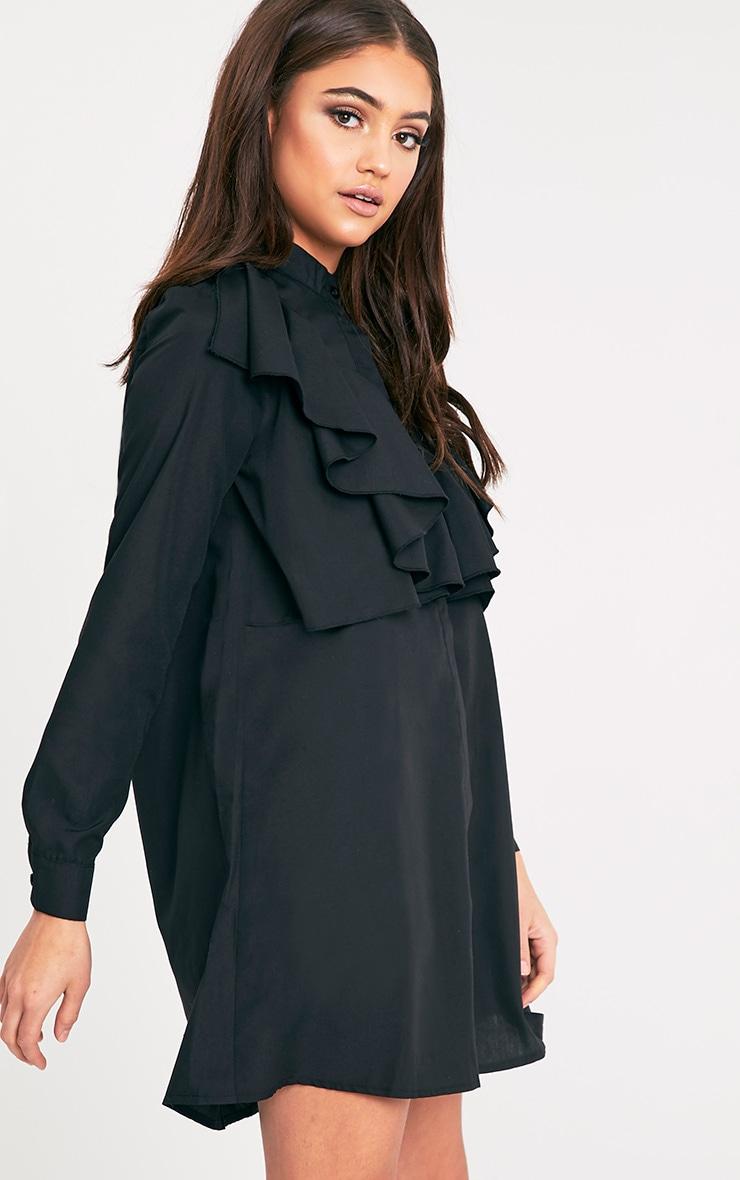 Flora Black Frill Front Shirt Dress 4