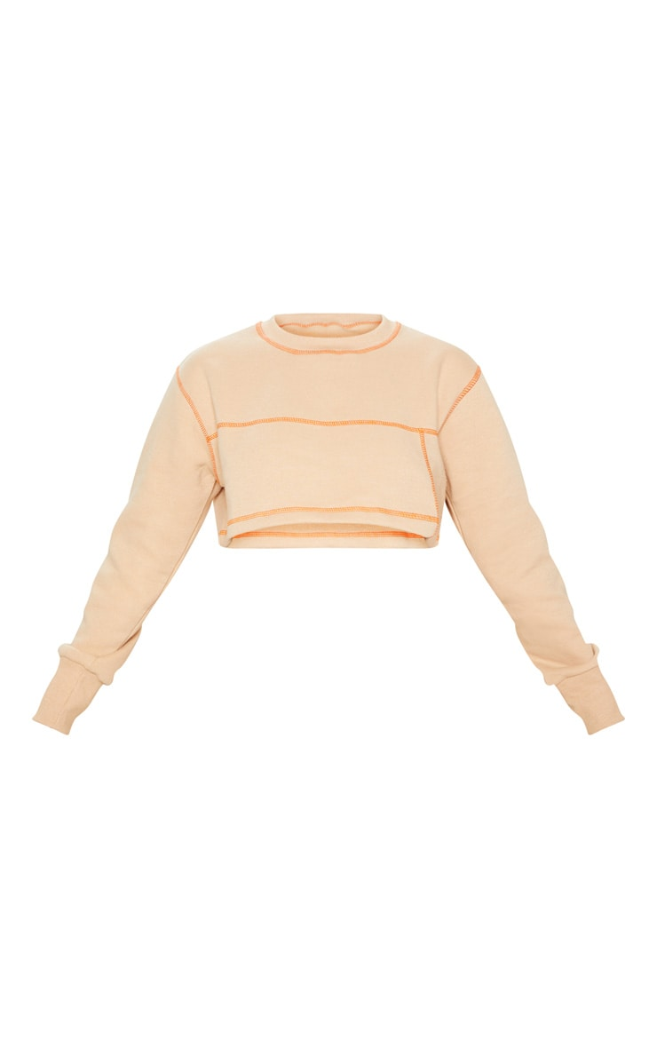 Nude Contrast Stitch Crop Sweater 3