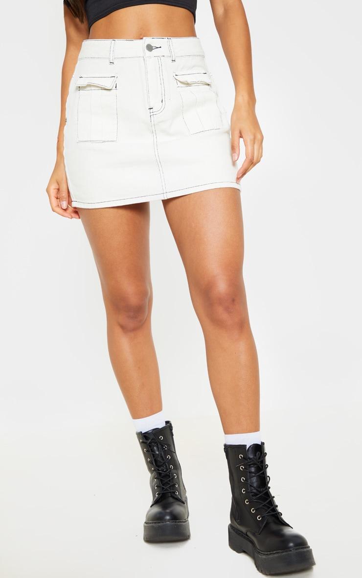Jupe en jean écru à coutures contrastantes 2