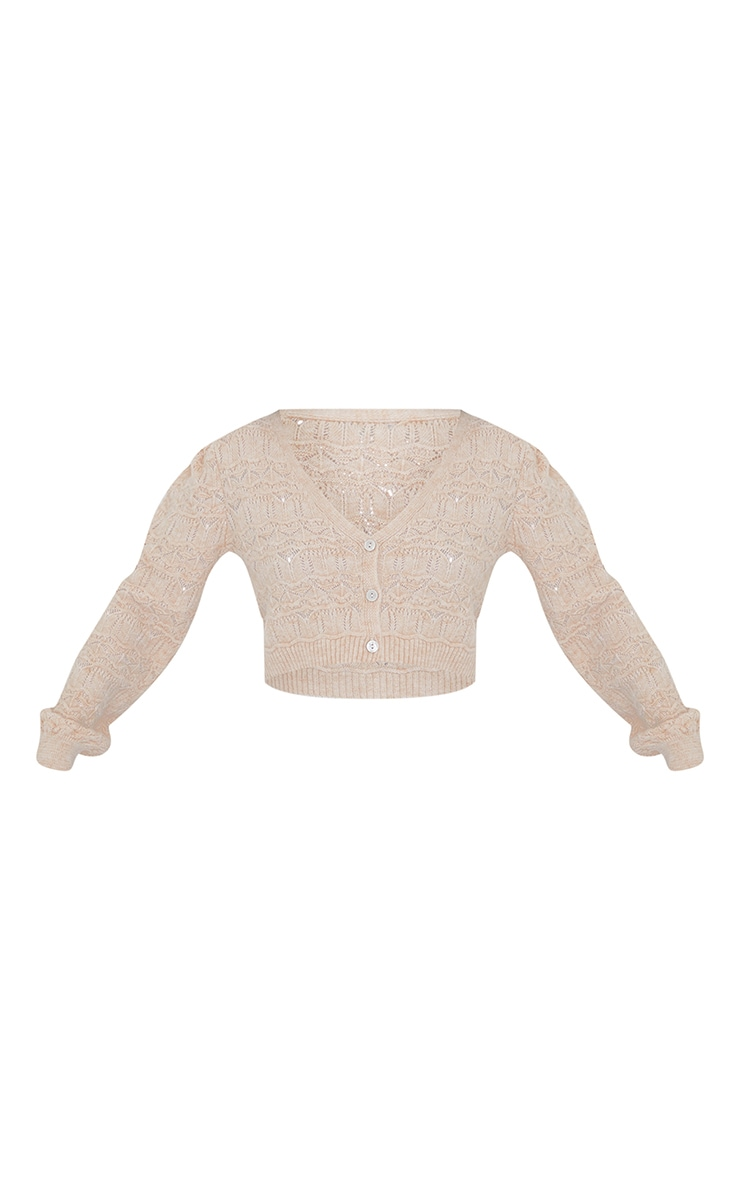 Nude Soft Pointelle Knitted Button Up Cardigan 5