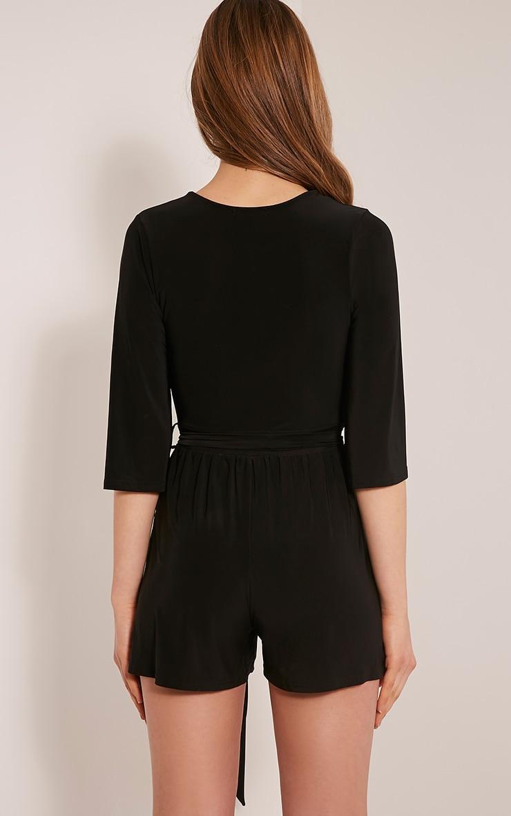 Sharnah Black Kimono Sleeve Plunge Playsuit 2