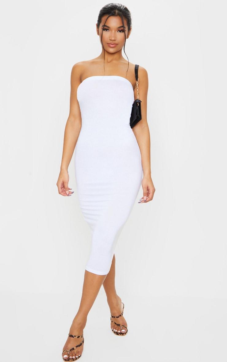 Basic White Bandeau Midaxi Dress 1