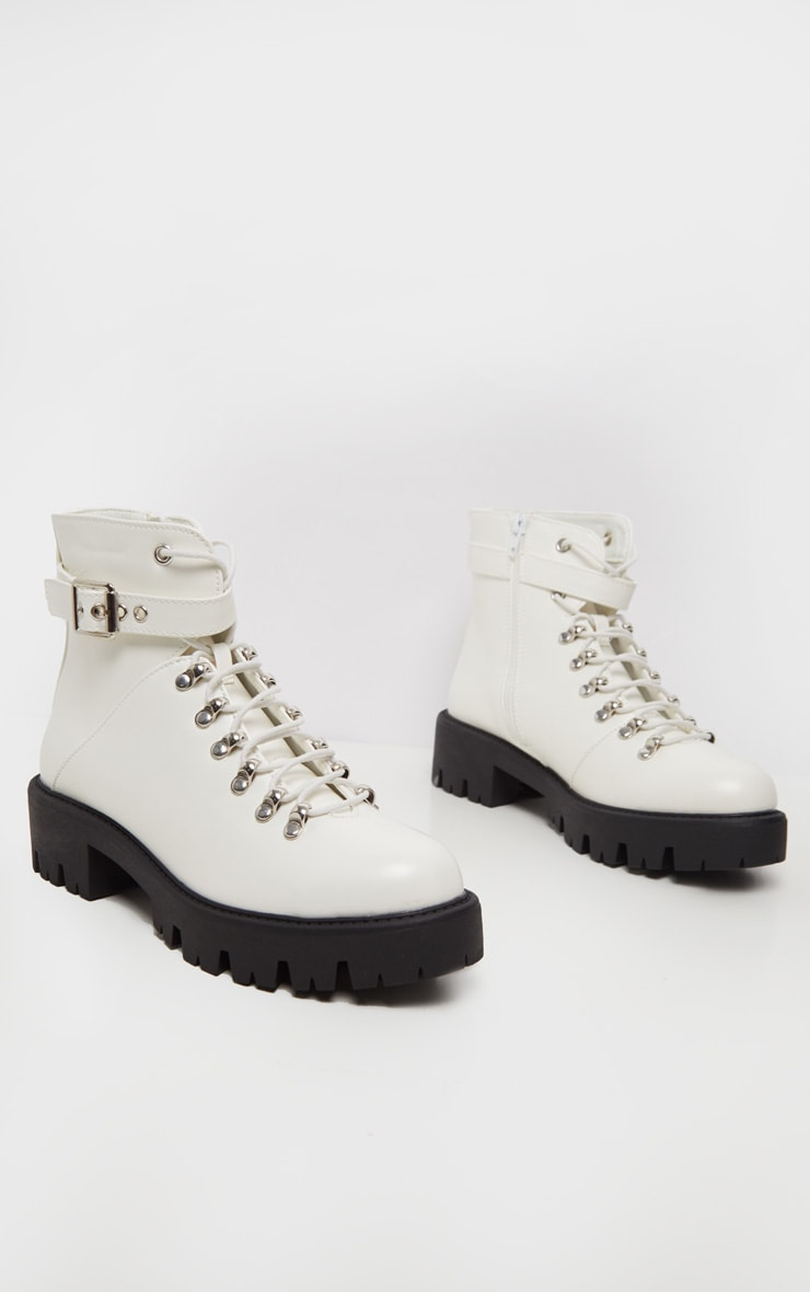 White Hiker Lace Up Ankle Buckle Boot 3